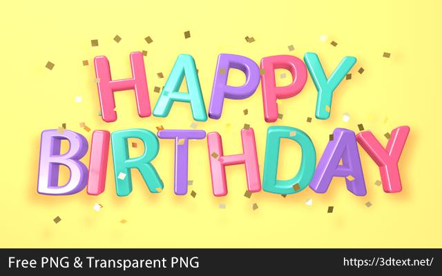 Happy Birthdayの無料3D立体文字
