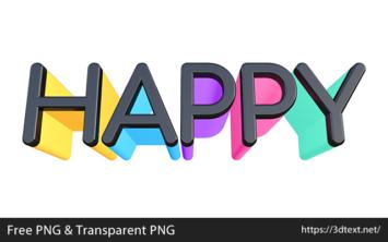 HAPPYの無料3D文字素材