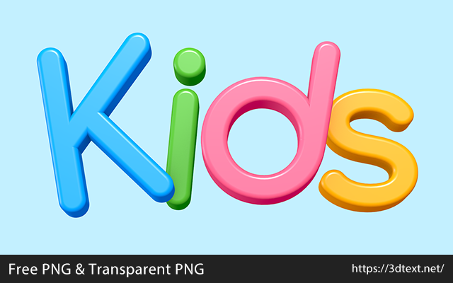 Kidsの無料3D立体文字