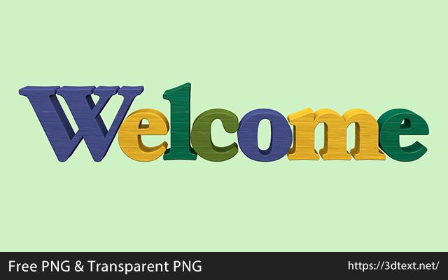 Welcomeの無料3D立体文字