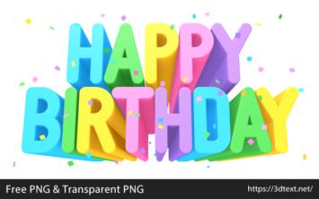 Happy Birthdayの無料3D文字素材